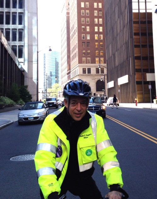 Hartford Mayor Pedro Segarra (if you don't believe me, read his embroidered bike jacket)